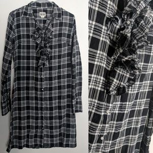 Converse Plaid Flannel Ruffle Fall Boho Dress